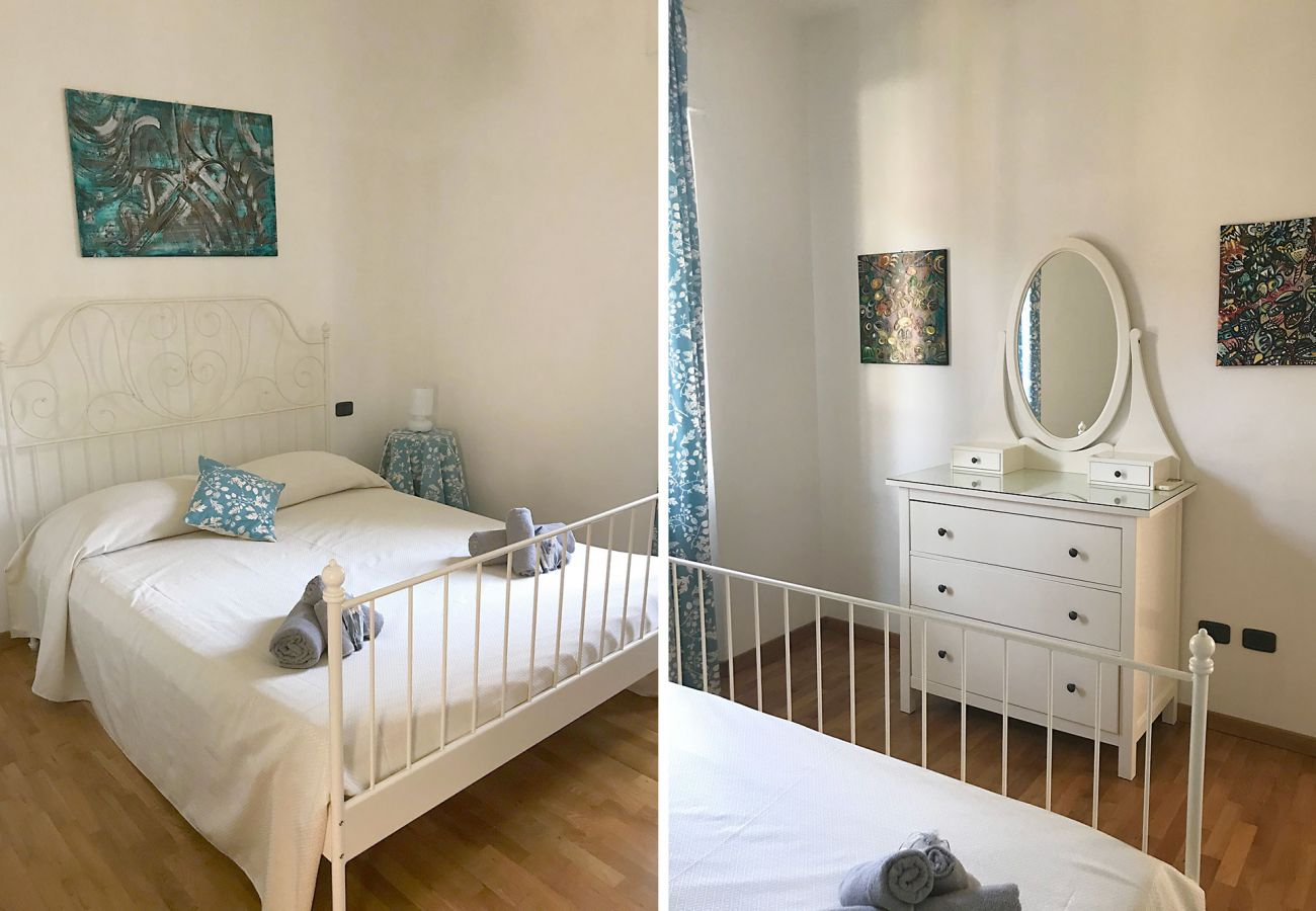 Marina di Grosseto-Wohnung Lavanda-Das Schlafzimmer mit Doppelbett
