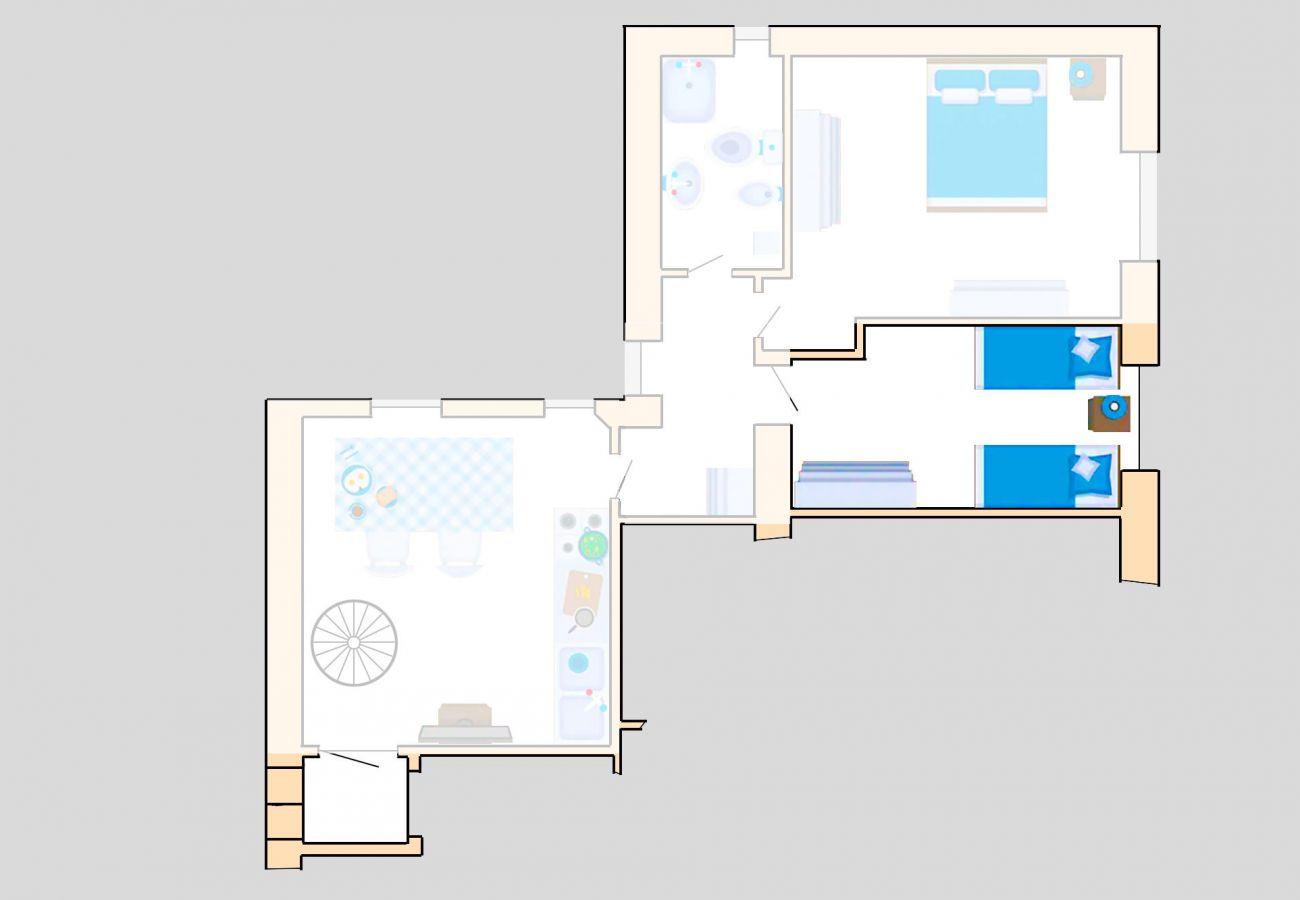 Ferienwohnung Lavanda - Grundriss - Das zweite Schlafzimmer