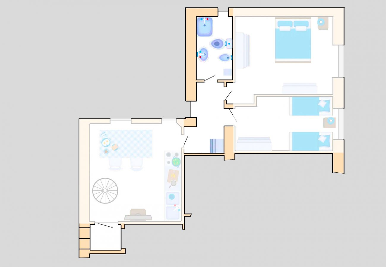 Marina di Grosseto - Wohnung Lavanda - Grundriss - Das Badezimmer