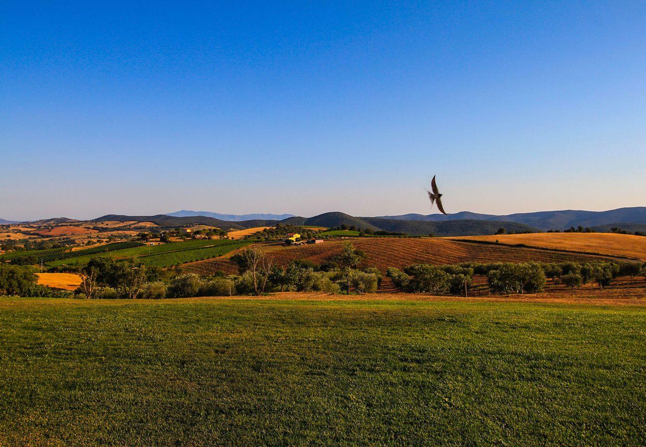 La Centurina en Toscane - vue panoramique de la terrasse.