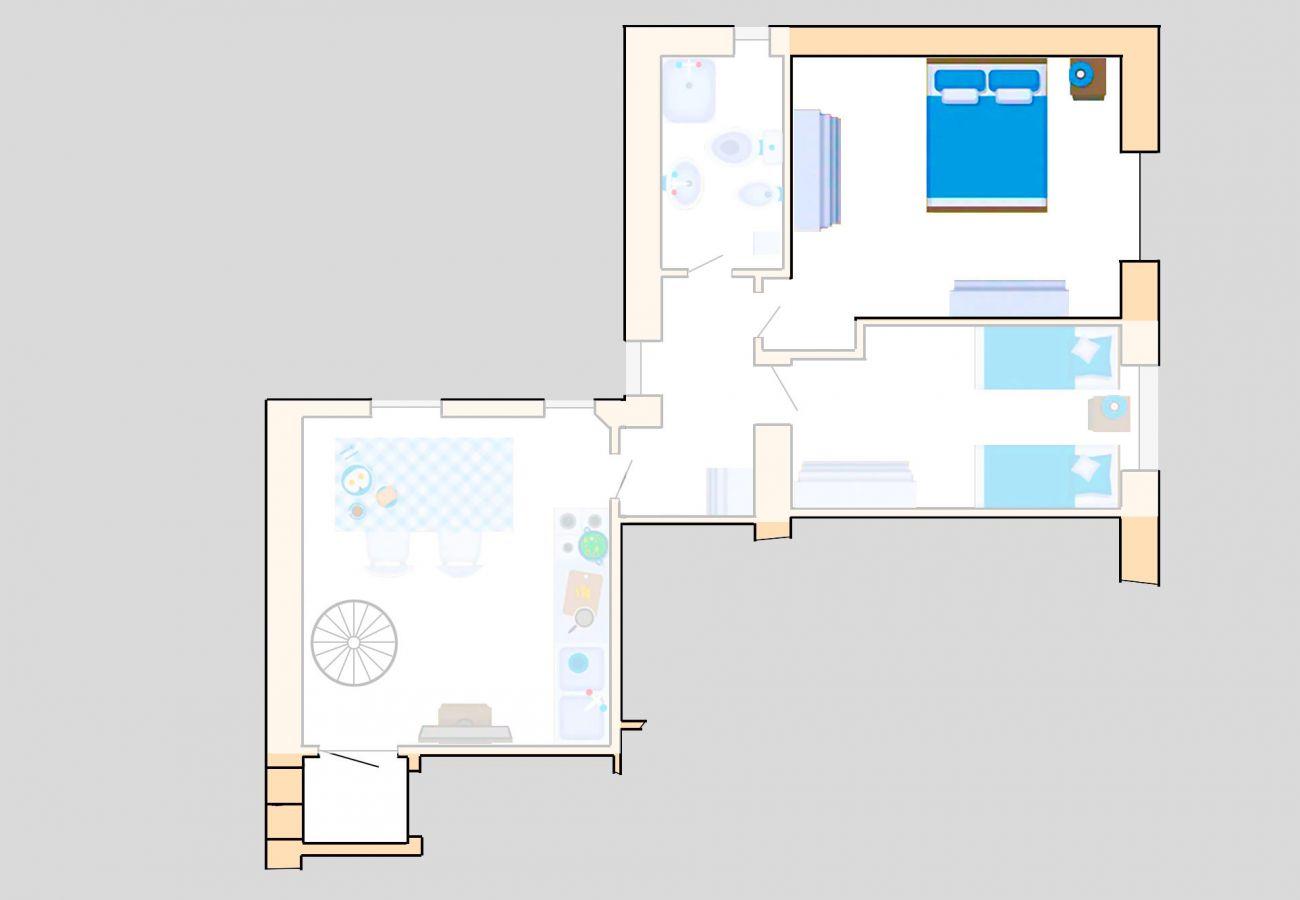 Appartement Lavanda - Plan d'étage - La chambre principale