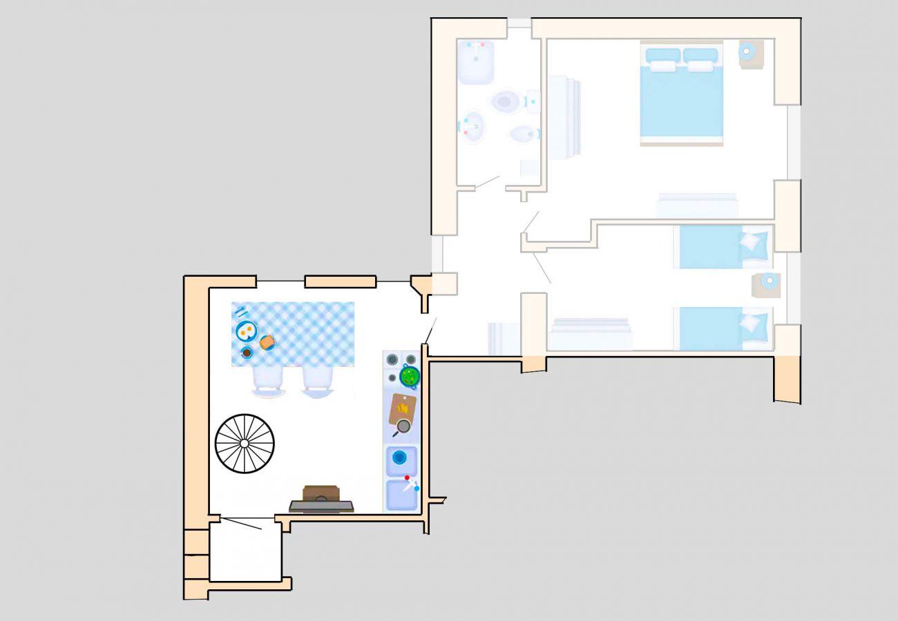 Appartamento Lavanda - Planimetria - Il soggiorno con angolo cottura